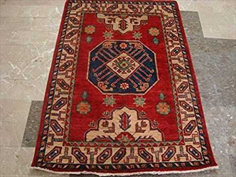 Super Kazak Caucasion Geometric Area Rug Hand Knotted Vegetable Dyed