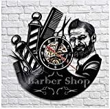 Ayzr Barber Shop Oclock LED Horloges Murales Décoratives Coiffeur Vinyle Horloge Murale Design Moderne 3D Montres Décoration Murale pour Barbier Salon 12inch(30cm)