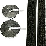 10M Velcro autoadhesivo (, extra fuerte, en blanco y negro, 20mm de ancho, calidad de mountaing Ecomoods, 1x gancho de banda (10M) y 1x Tira (10