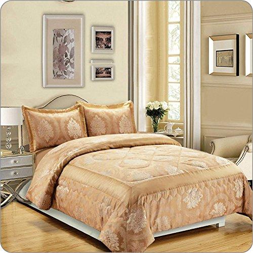 Luxuriöse Tagesdecke 3Stück New Jacquard 220gsm gesteppt Bettwäsche Tröster Set, Betty Gold, Double( 220X240 CM)