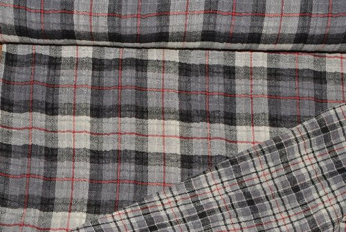 alles-meine.de GmbH 1 m * 1,4 m Stoff kariert Double Face - rot schwarz grau Karo - Baumwoll Stoff Meterware Wendestoff karo Baumwolle