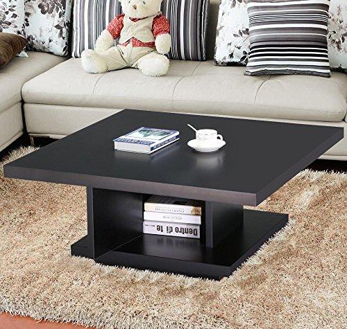 Popamazing Modern Black Wood Large Square Coffee Table