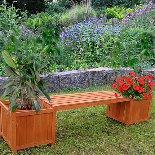 2in1 Gartenbank mit 2 Blumenkästen Holzbank Blumenkasten Blumenkübel Pflanzkübel - 2
