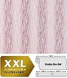 Streifen Tapete Vliestapete EDEM 675-93 XXL Design Vlies-Tapete dekorative Streifen-Struktur hell-rosa pink weiß 10,65 qm