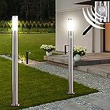 2 x lampadaire LED acier inoxydable luminaire sur pied lampe DEL jardin terrasse