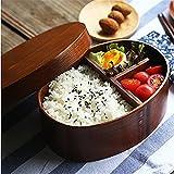 Queta Bento Box Holz Lunchbox im Japanischen Stil Brotdose mit Trennwand Food Box Mittagessen Container Aufbewahrungsbehälter für Kindergarten, Schule, Küche, Büro, Picknick