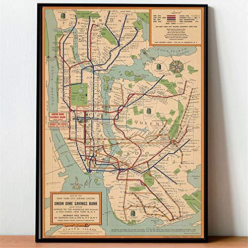 Rjjwai Cuadros Vintage Poster Wandkunst U-Bahn Karten Leinwand Malerei New York City Poster Und Drucke Stil Wandbilder Für Wohnzimmer Schlafzimmer 40x60cm -