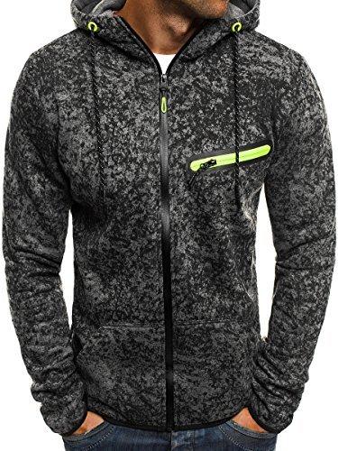 OZONEE Herren Kapuzenpullover Sweatshirt Langarmshirt Sweatjacke Pullover  Aufdruck Pulli J.STYLE DD100 M DUNKELGRAU 6962b9702d