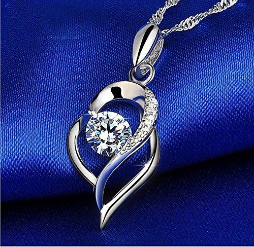 Axiba 999 Sterling Silber Halskette aktuelle Herz Halskette Schlüsselbein Kette Silber Das schönste Geschenk