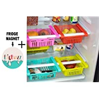 BigBuzz 4 Pcs Expandable Adjustable Fridge Storage Basket + BigBuzz FRIDGE MAGNET FREE, Under Shelf Fridge Rack Slide…