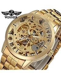 Winner Reloj para hombre Fashion Business automático analógico Vestido reloj de pulsera color dorado ...