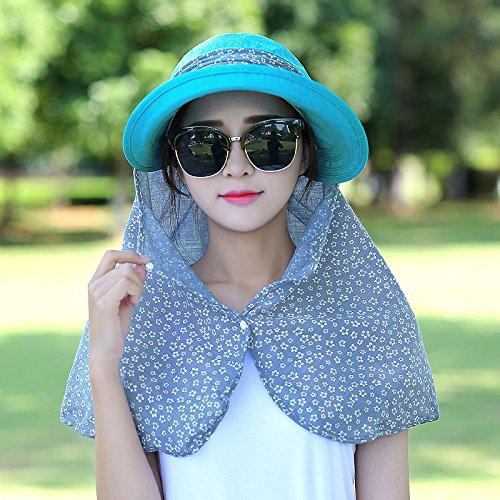 Pare-soleil protection solaire d'¨¦t¨¦ femme v¨¦lo pliant plein air cap chapeaux de plage d'¨¦t¨¦ f¨¦minins grandes face noire de l'¨¦t¨¦ le long de la hat sont code(-ZIP) augmenter les lingettes Visa Skyblue