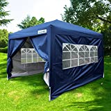 Quictent Pop-Up-Pavillon, 3 X 4,5 M, Marineblau Pavillon / Gartenzelt, Wasserabweisend, Silberfarben Beschichtet, Mit Seitenteilen Und Tasche