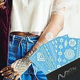 AKTIIV Klebe-Tattoos | White Edition | 4 x Din-A5 Bogen temporäre Tattoos in Weiß | Das Perfekte Festival & Allday Accessoire | Wasserfeste Klebetattoos | Body & Face Painting Aufkleber für die Haut