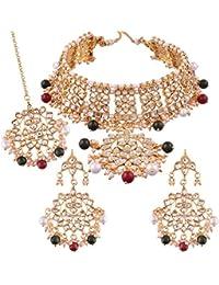 I Jewels Traditional Kundan & Pearl Choker Necklace Set For Women (K7058MG)