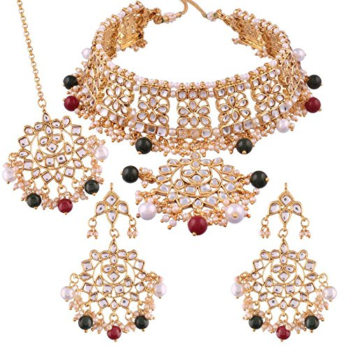 I Jewels Traditional Kundan & Pearl Choker Necklace Set for Women (K7058MG)
