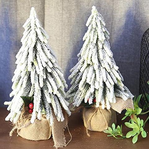 sunnymi Künstlicher Weihnachtsbaum 33 * 19cm,Simulation von Beeren Fake Christmas Tree,Hochzeit Bouquet Dekor Garten Dekoration, Büro, Kaffeehaus (33 * 19cm, Weiß)