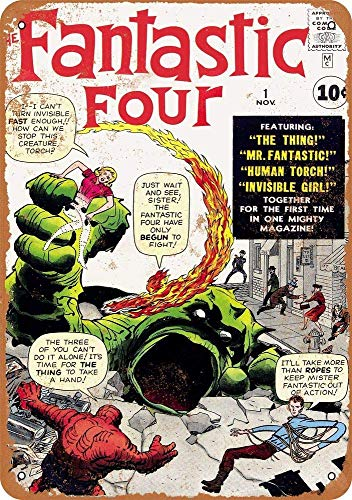 Yilooom Retro Vintage Metal Signs Novelty Wall Plaque Wall Art Decor Accessories Gifts - Fantastic Four #1-8 x 12 Inches -