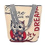 OYSOHE Frauen Canvas Handtasche, Karikatur Eulen Handtaschen Schulter Bote Tasche Damen Schultaschen Taschen