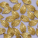 10x 17mm latón 24K chapado en oro de hojas encanto, colgante con diseño de hoja, accesorios para el pelo de hojas, hojas, hecho a mano joyas de espaciadores, se vende 50pcs/lot