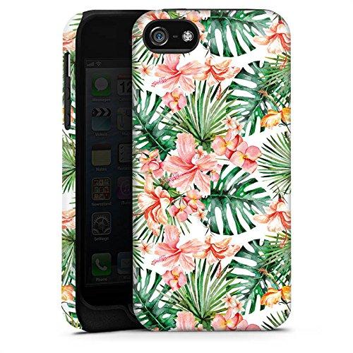 Apple iPhone X Silikon Hülle Case Schutzhülle Palmenblätter Muster Blüten Tough Case matt