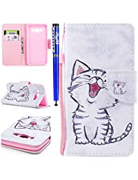 EUWLY Leather Wallet Case for Samsung Galaxy J5 2016,Ultra Thin Colorful Butterfly Flower Tree Animal Embossed Pu Leather Case Cover with Hand Strap for Samsung Galaxy J5 2016 + 1 x Stylus Pen - Cat with Red Mouth