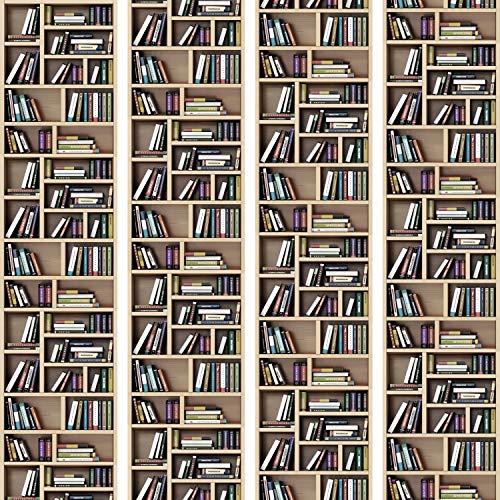 murando - PURO TAPETE - Realistische Tapete ohne Rapport und Versatz 10m Vlies Tapetenrolle Wandtapete modern design Fototapete - Bücherregal Buch Bibliothek i-B-0041-j-a -