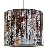 anna wand Lampenschirm WOOD BLAUGRAU – Schirm für Lampen mit Motiv in Holz-Optik – Sanftes Licht für Tischleuchte/Stehlampe/Hängelampe im Wohnzimmer, Esszimmer, Schlafzimmer