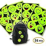 GUGUJI niedliche Emoji-Gesicht, Reflektierende Sicherheits-Aufkleber für Schultasche, Hut, Kleidung, Fahrrad, Alleskönner, 24 Stück