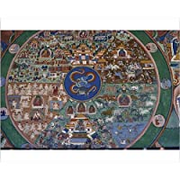 20x16 Print of Wall painting of the wheel of life, Punakha Dzong, Bhutan, Asia (3661223)