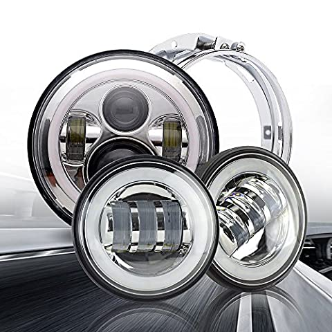 Uni 7 pouces Chrome Harley Daymaker LED phare + 2x