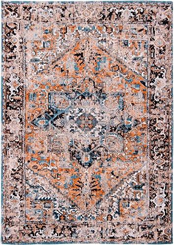 Louis de poortere tappeti designer antiquario heriz 8705seray arancione blu & ornage anticata in stile vintage sbiadito e area rugs, orange, 290x390cm - (9'5x12'8)