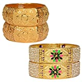 #9: Mansiyaorange Combo Of Traditional Party Wedding Wear One Gram Gold Original Style Hand Made Meena Multi Colored Golden Four Bangles For Women