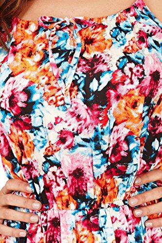 Pistachio Femme Floral Imprimé Robe Bretelle Avec Élastiquée Tour De Taille Rose/Bleu - Floral