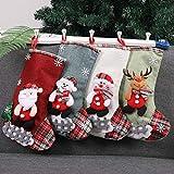 Mini bas de Noël ensemble de 4, petits cadeaux de bas de Noël et traiter des sacs chaussettes de Noël suspendus pour arbre de Noël, décoration de jardin à la maison