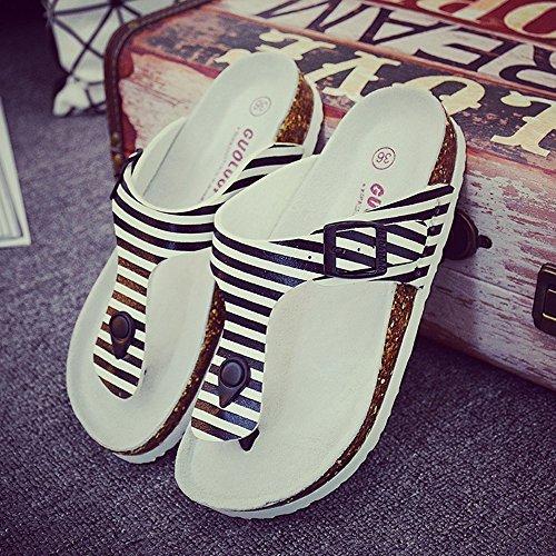 HAIZHEN Pantofole della casa Pattini Da Spiaggia Delle Coppie Pantofole Femminili Di Sughero Pattini Femminili Di Modo Estivo Con 3 Colori Per le donne e gli uomini ( Colore : 1001 , dimensioni : EU41 1001