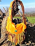 MOBOIXS. Moon Model. Leather shoulder bag with turquoise and fringe. It's lined with indian clothing