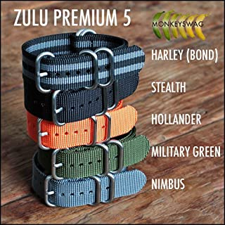 MONKEY SWAG Zulu Nato Nylon Watch Straps, 5 Ring Stainless Steel Hardware (B009OZOMFQ) | Amazon price tracker / tracking, Amazon price history charts, Amazon price watches, Amazon price drop alerts