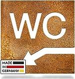 INOXSIGN Vintage WC-Schild Pfeil-Richtung Links W05R – Selbstklebendes Retro Toiletten-Schild – klar erkennbar und werkzeuglose Montage – Unisex Kloschild – Shabby chic – Made in Germany