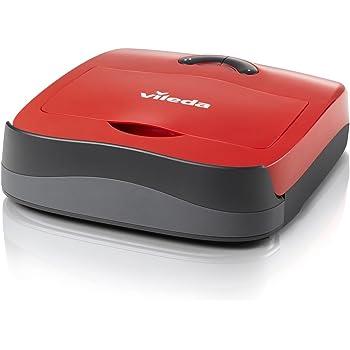 Vileda VR101 Robot Aspirapolvere, per Tutti i Tipi di Pavimenti, per Tappeti, con Sensori del Vuoto, con Vano Raccogli Sporco, 4 Sistemi di Pulizia, Plastica, Rosso, 39x39x29 cm