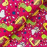 Glünz Softshell Dinosaurier pink - Stoff - Meterware -