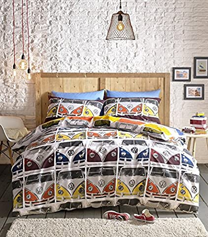 Volkswagen Campervan Single Quilt Duvet Cover and Pillowcase Bedding Bed Set Official Vw Vdub Camper (Singolo Barndoor)