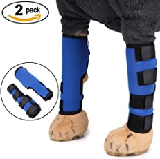 Zunea 2Stück Hund Hunde Hinten Bein Hock Bandage Hinterbein schützt Wunden Wrap Kompression Klammer heilt für Wunde Verletzungen und Verstauchung Heilung von Arthritis