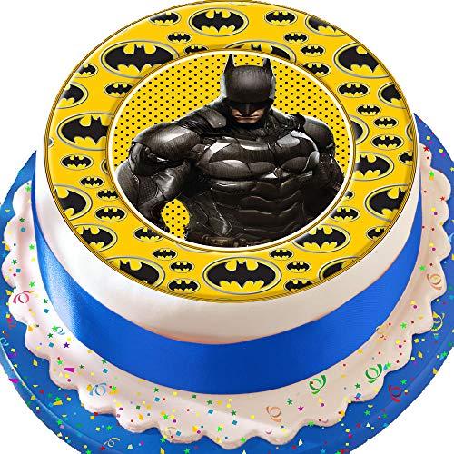 Torten-Topper mit Batman-Logo, essbarer Zuckerguss, vorgeschnitten, zum Geburtstag, Tortendekoration, mit dekorativer Bordüre