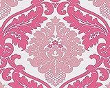 A.S. Création Vliestapete mit starkem Glitterauftrag Bling Bling Tapete neo barock 10,05 m x 0,53 m lila weiß Made in Germany 313935 3139-35