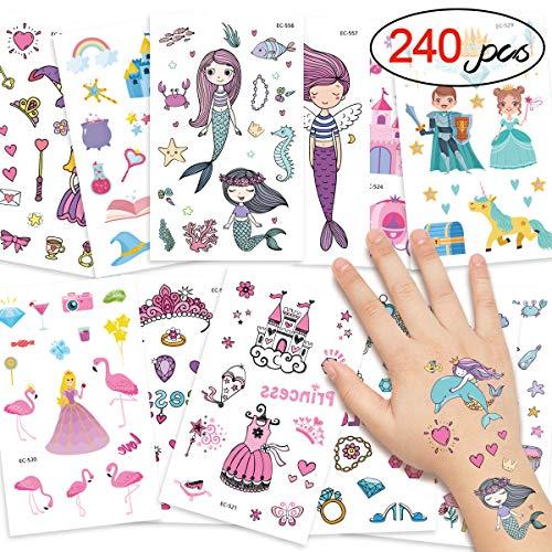 DYFFLE Meerjungfrau Party Tattoo Kinder Set, Meerjungfrau Kindergeburtstag - 240 Prinzessin Temporäre Tattoos Aufkleber, Kinder Tattoo Mädchen Für Geschenktüten Mitgebsel Kindergeburtstag Mädchen