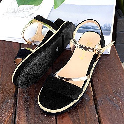 RUGAI-UE Sandali estivi a fondo piatto di spessore di pendenza con suole di scarpe piatte Black