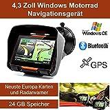 4,3' Zoll PKW Navigationsgerät Navigation Bluetooth,PKW,Motorrad,Wasserdicht,GPS,Kostenlose Kartenupdate,Neuste Europa Karten sowie Radarwarner,24GB Speicher