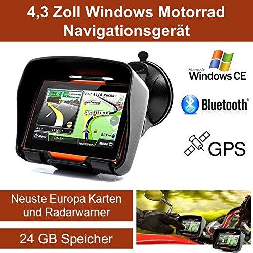 """4,3\"""" Zoll PKW Navigationsgerät Navigation Bluetooth,PKW,Motorrad,Wasserdicht,GPS,Kostenlose Kartenupdate,Neuste Europa Karten sowie Radarwarner,24GB Speicher"""