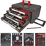 TecTake 200 teiliger Werkzeugkoffer mit 4 Schubladen mit Werkzeug bestückt
